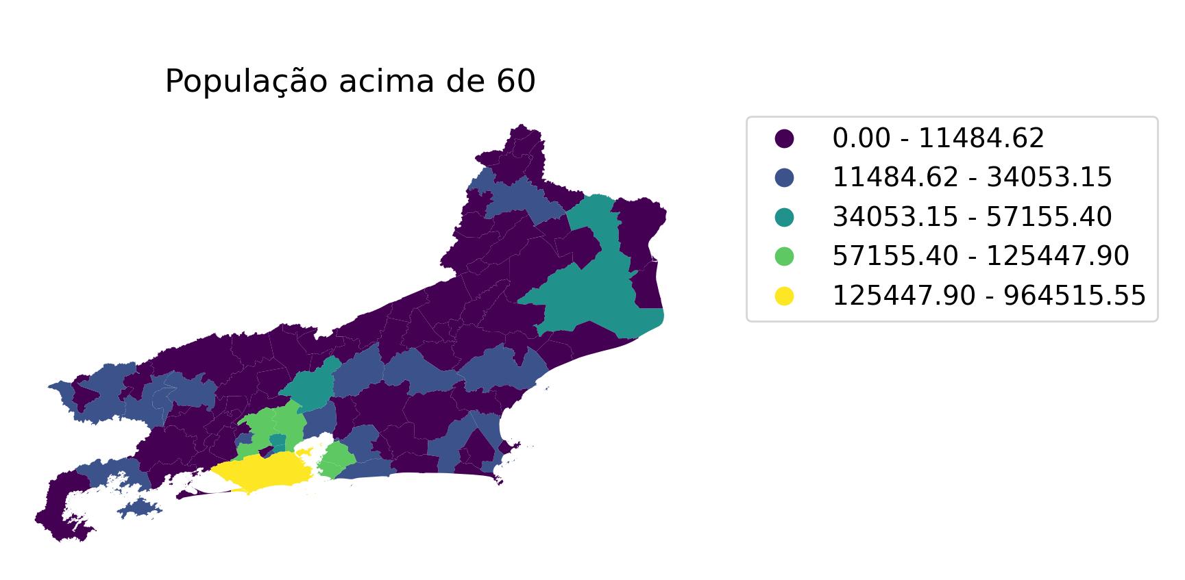 Nova Iguaçu e Duque de Caxias, em verde claro no mapa, possuem as maiores populações de idosos da região.Reprodução/Fiocruz/FGV
